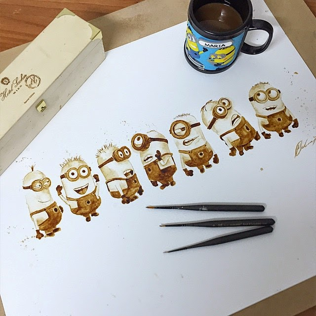13-Minions-Maria-A-Aristidou-Pop-Culture-Painted-with-Coffee-www-designstack-co