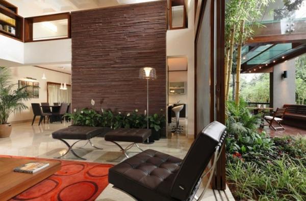 Salas con paredes de piedra ideas para decorar dise ar - Paredes decoradas con piedra ...