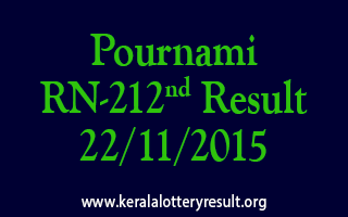 Pournami RN 212 Lottery Result 22-11-2015