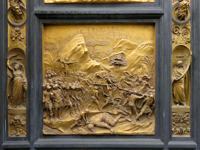 David, copy of the original bronze panel of the Gates of Paradise by Lorenzo Ghiberti, Baptistry of Saint John, Florence