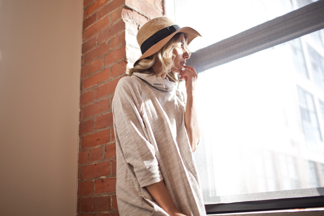 Terri Cocoon Pullover, FP Beach, Anthropologie floppy hat