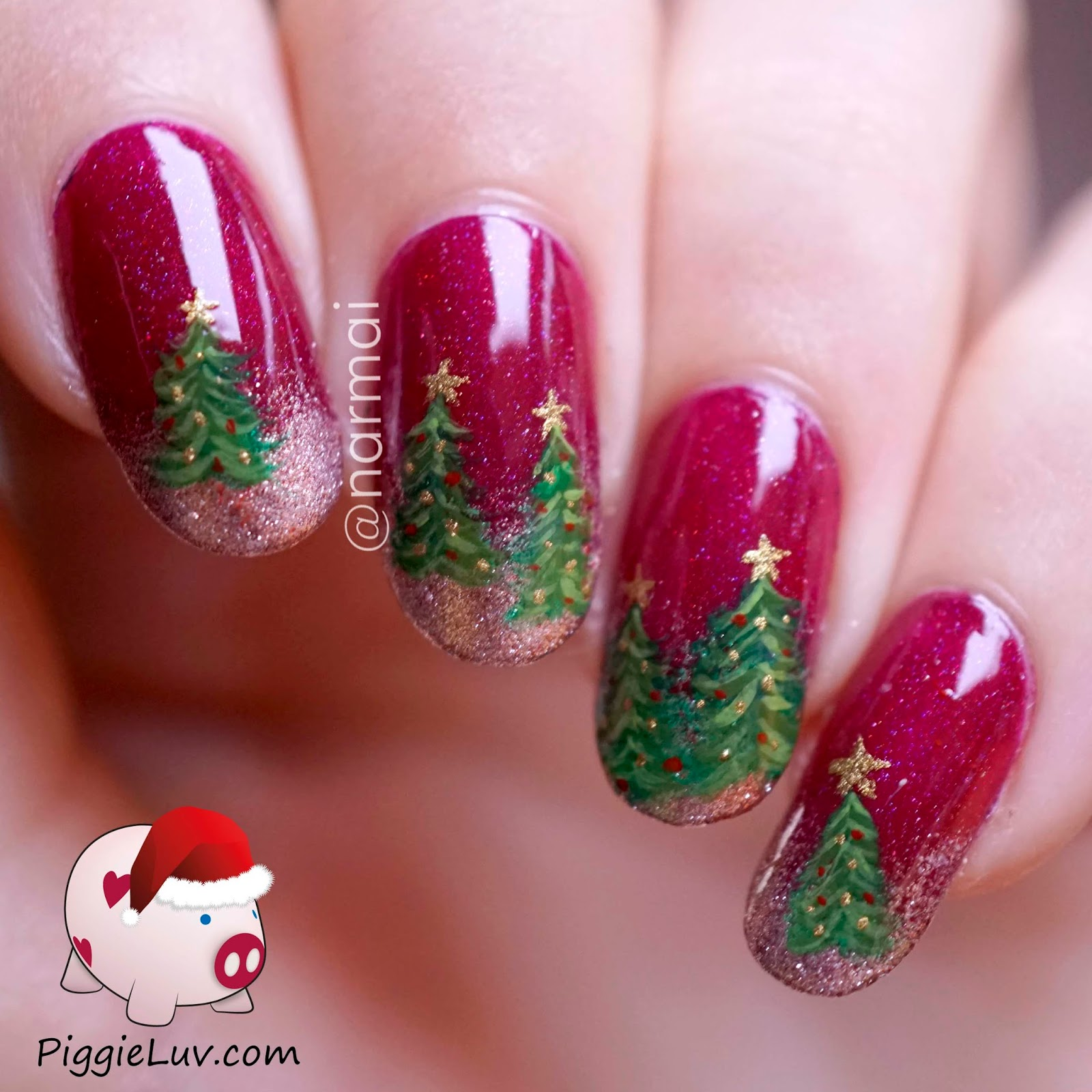 PiggieLuv: Christmas trees nail art