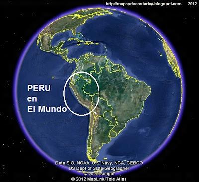 Ubicación de PERU en El Mundo.  Google Earth