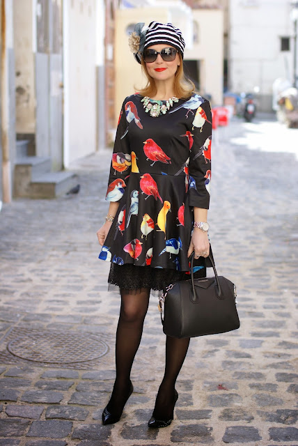 sheinside birds print dress, Loriblu shoes, Givenchy Antigona bag, Fashion and Cookies, fashion blogger
