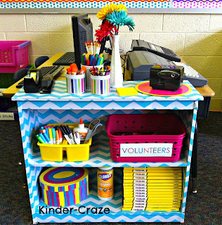 Happy and Bright classroom chevron bookshelf