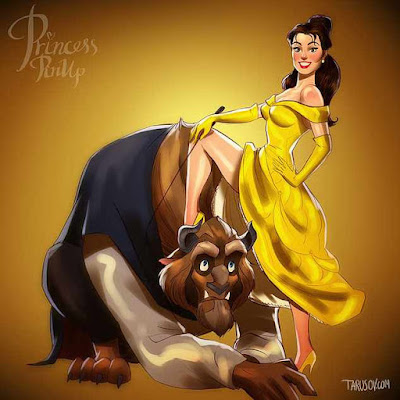 andrew tarusov, disney princess pin-up series, beauty and the beast, belle dominating the beast adam, drawing, femdom art