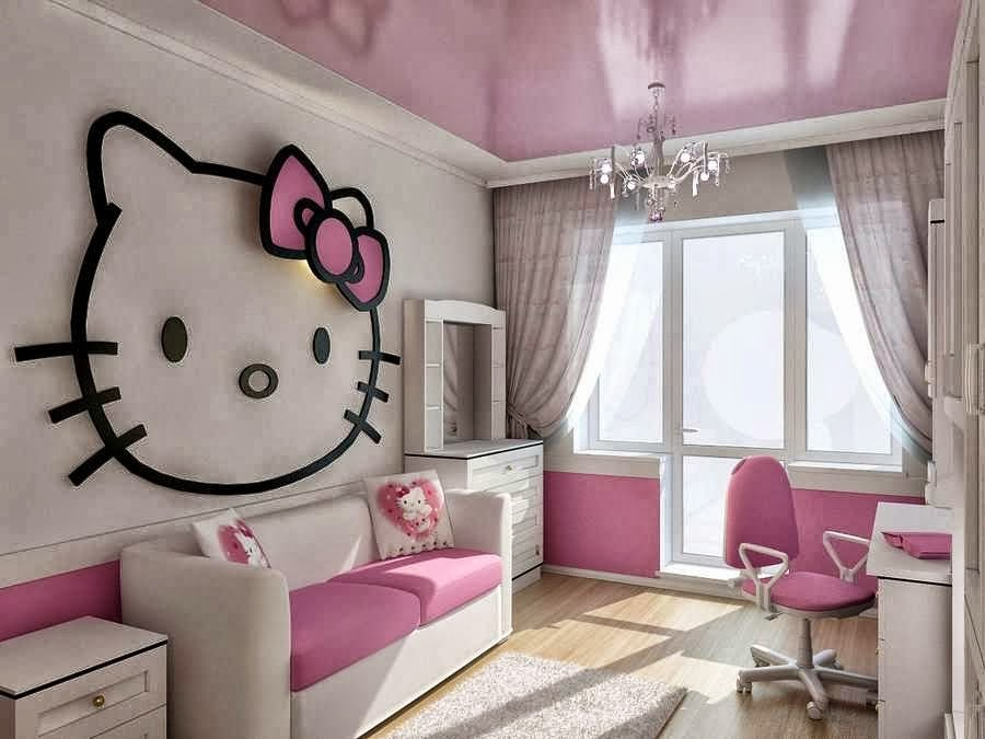 anak perempuan hello kitty cantik kamar set tempat tidur