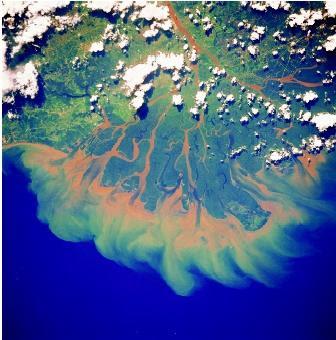 sungai mahakam ketika dilihat di luar angkasa