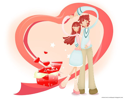 Romantic heart with men and women wallpaper