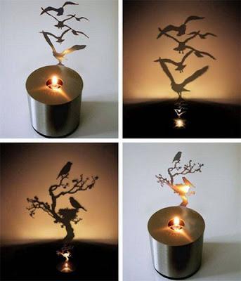 Porta velas con paisajes sombra