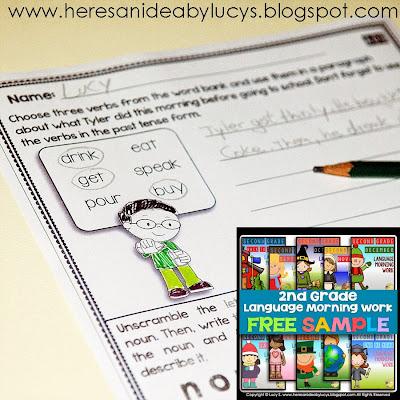 FREE Second Grade Language Morning Work Sample: 10 No-Prep Printable Worksheets