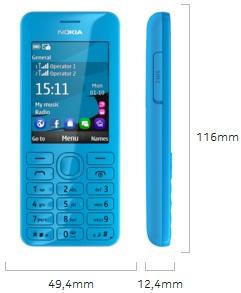Dimensi Nokia 206