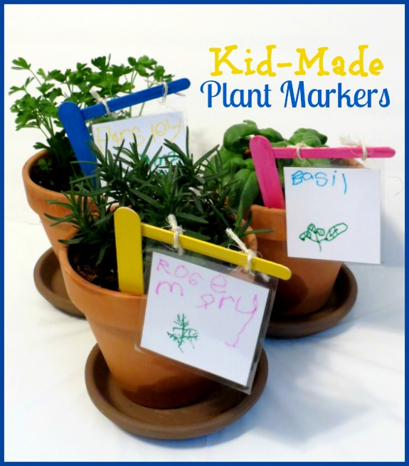 kid-made plant markers for the garden