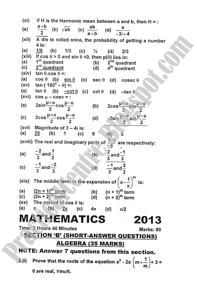 Mathematics-2013-five-year-paper-class-XI