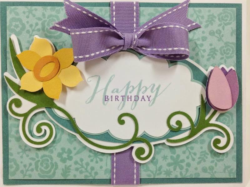 Cricut Floral Frame Birthday Card closeup