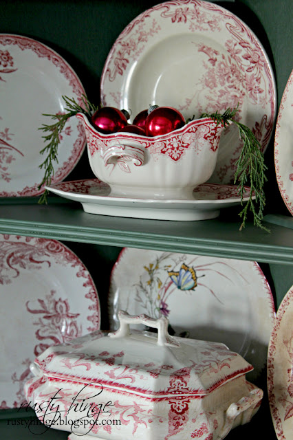 Christmas antique French red transferware