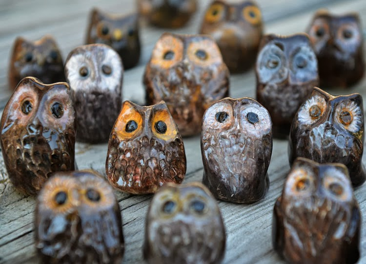 Miniature ceramic pottery owls