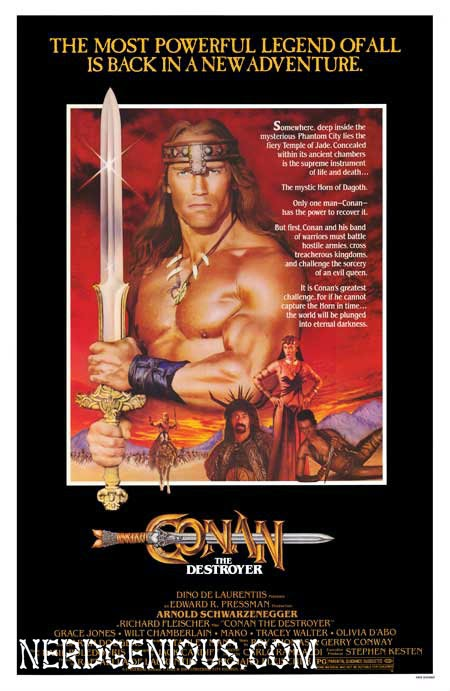 Arnold Schwarzenegger and director Richard Fleischer fantasy adventure Conan the Destroyer, Conan the Barbarian sequel