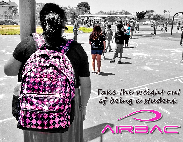 The AirBac support system keeps the weight off your back for  healthier student.