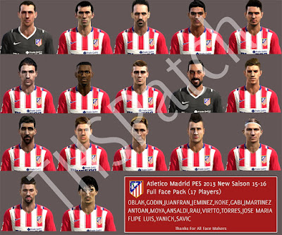 PES 2013 Atletico Madrid 15-16 Full Face Pack By THSPatch