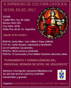 Programa de las X Jornadas de Cultura Católica Vedia 2017