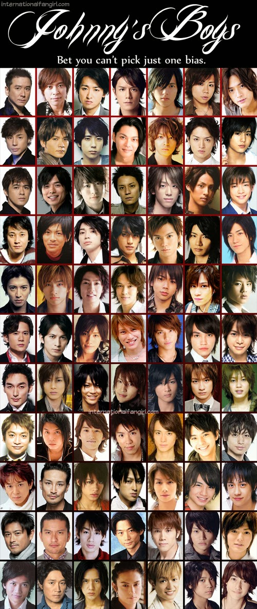 Johnny's Entertainment members including SMAP, Tokio, KinkiKids, V6, ARASHI, Tackey and Tsubasa, NEWS, KANJANI EIGHT, KAT-TUN, Hey! Say! JUMP, Kis-My-Ft2, Sexy Zone, A.B.C-Z, Masahiko Kondo, Shonentai, Uchiumi Kohji, Sato Atsuhiro, Okamoto Kenichi, Yamashita Tomohisa, Ikuta Toma, Akanishi Jin and Uchi Hiroki.