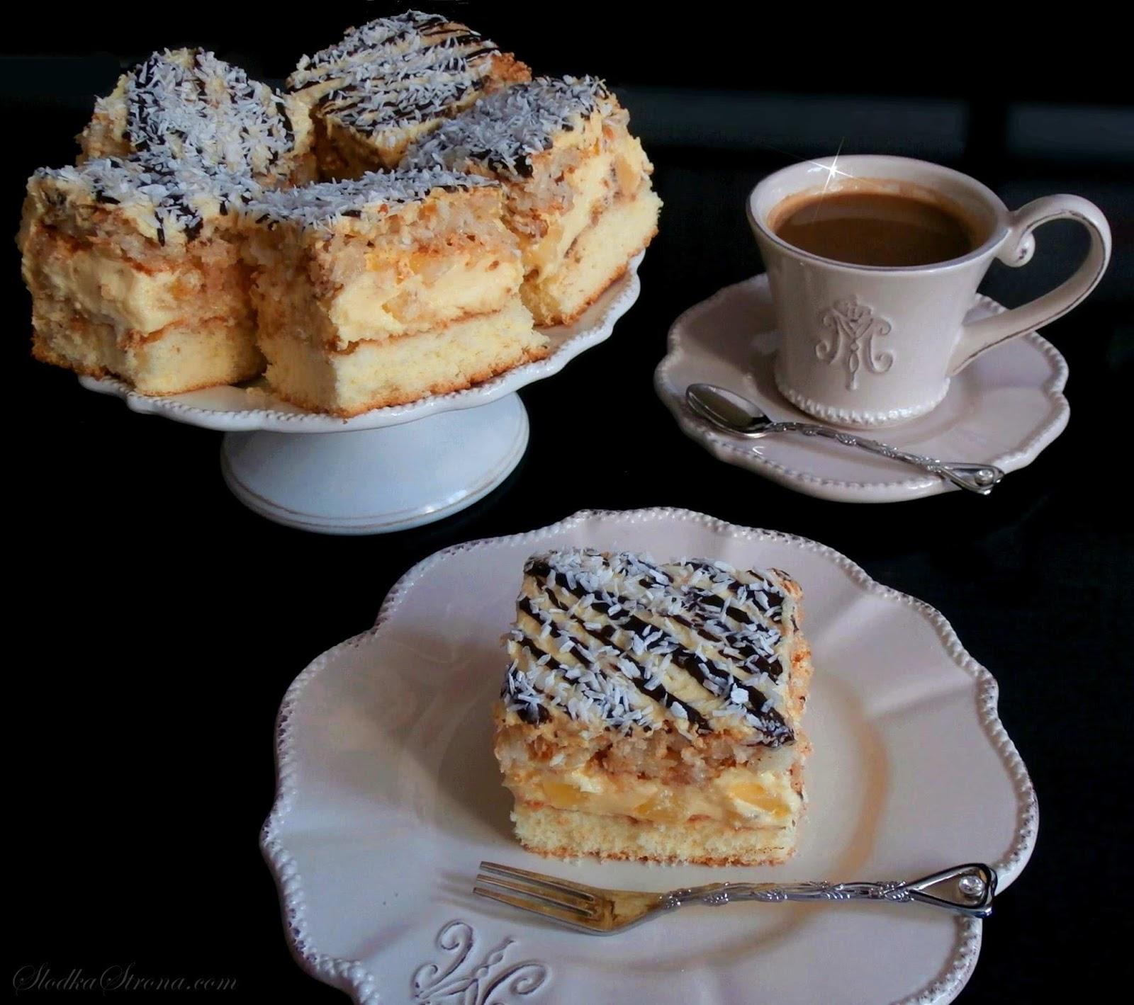 Ciasto Ananasowo-Kokosowe - Przepis - Słodka Strona