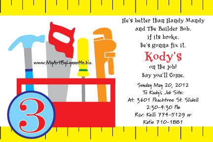 LynnetteArt Handy Manny or Bob the Builder Toolbox birthday party – Bob the Builder Party Invitations