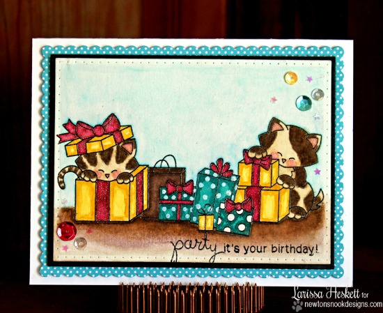 Cat Birthday Card by Larissa Heskett | Newton's Birthday Bash & Newton's Christmas Cuddles Stamp sets by Newton's Nook Designs #newtonsnook
