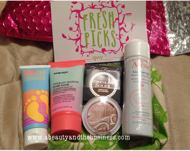 ipsy bag, Ipsy bag may 2014, too faced, pacifica, avene thermal spray, evanyc therapy session hair mask, hangten sport sunscreen