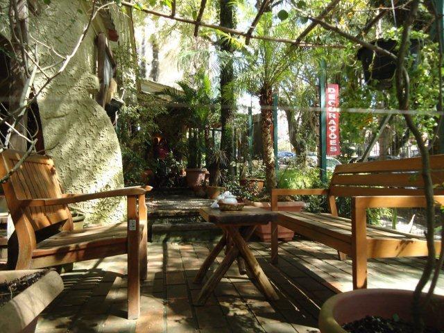 jardim ipe porto alegre:jardim com pérgolas e bancos de ipê é adornado por figueira