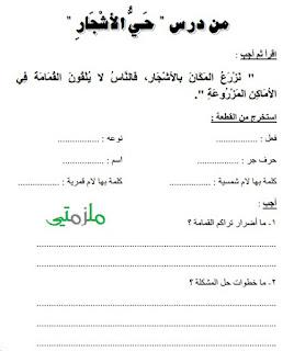 ملزمة مراجعة عربي للصف الثالث الإبتدائي الترم الأول