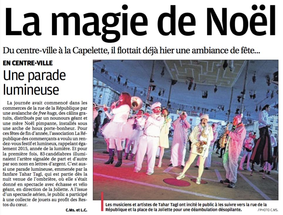 La fanfare Tahar Tag'l dans le journal quotidien La Provence du dimanche 13 décembre 2015