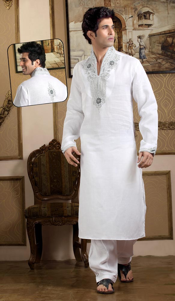 White Kurta Pajama With Jacket Off-white Kurta Pajama