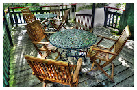 tables and chairs outside at Faeryland, Grasmere