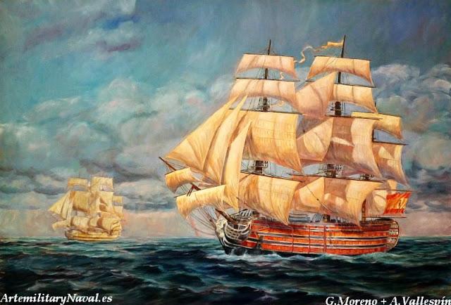 Pintura del Navío Santísima Trinidad pintado paso a paso 9