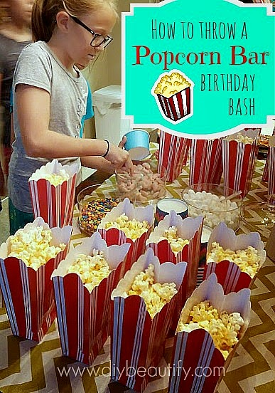 How to host a popcorn bar and outdoor movie night diy beautify girls 10th birthday party ideas popcorn bar and movie night diybeautify filmwisefo
