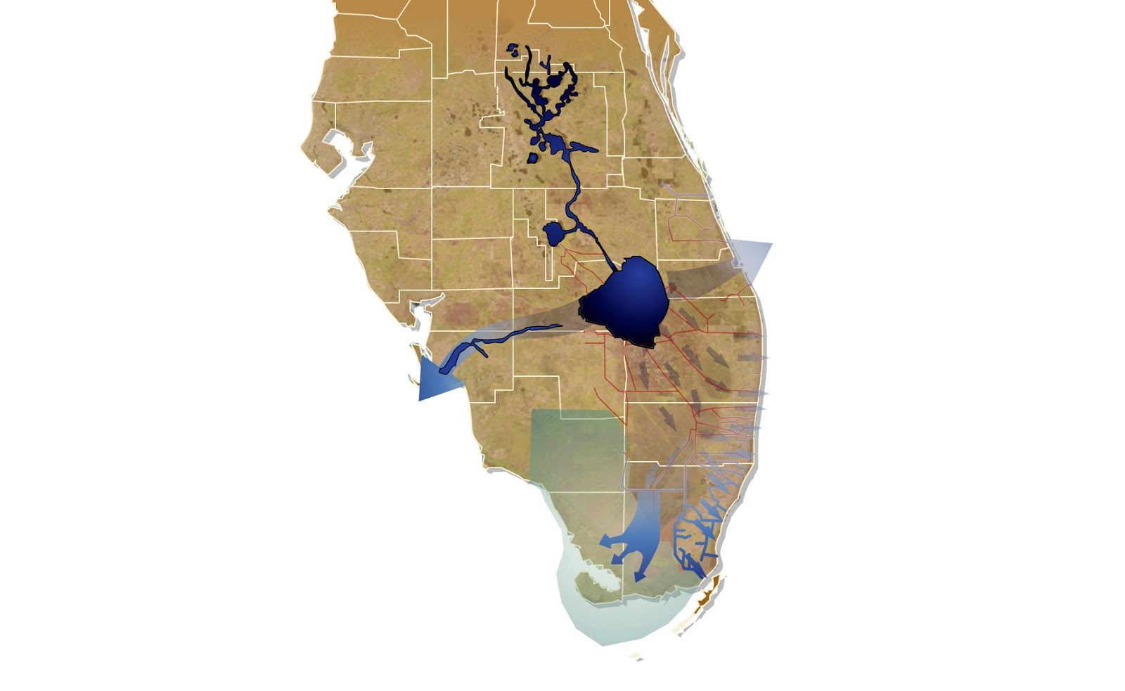 this map illustrates how the cs f project disrupted historic everglades water flows and created the current water management system
