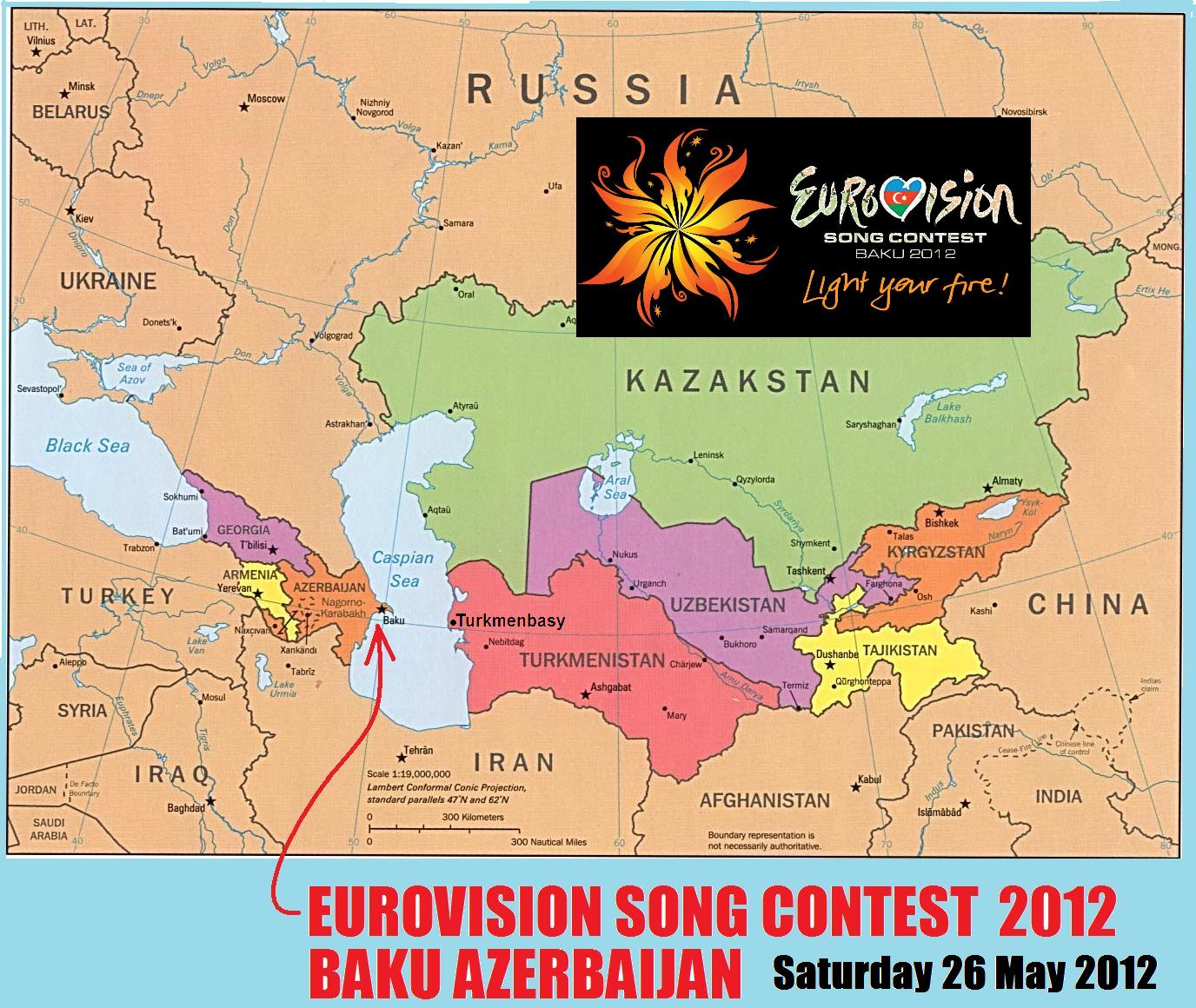 VleeptronZ helpful map to Baku Azerbaijan for 2012 Eurovision Song