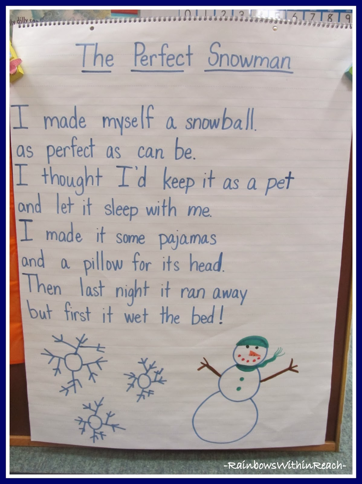 """The Perfect Snowman"" Poem as Anchor Chart via RainbowsWithinReach"