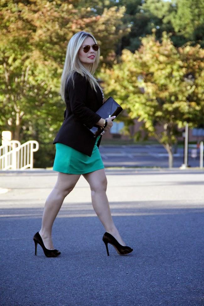 Green Skirt- from my closet, Animal Print shirt via TJ Maxx, Gibson One Button Fleece Blazer via Nordstrom, Gallington Black clutch - Aldo, Bracelets - TJ Maxx, Aviator Sunglasses from Ray Ban (similar here)
