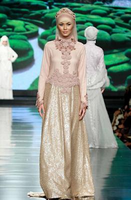 Model Gamis Satin Brokat Cantik Terbaru 2015