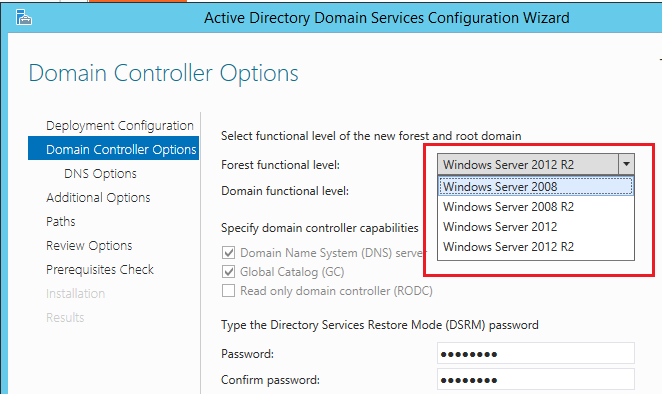 Niveles funcionales de AD en Windows Server 2015 Technical Preview