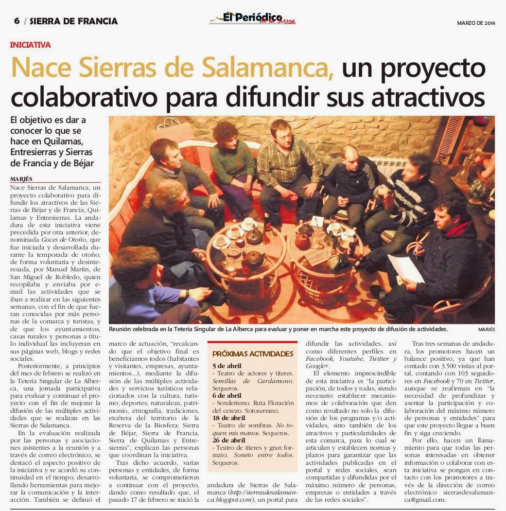 Artículo de Prensa publicado recientemente en El Periódico de las Sierras, en el que recogen nuestra iniciativa.