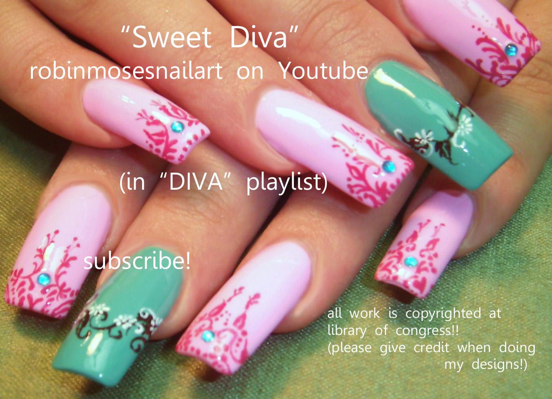 sweet diva nail, pink and teal nail, henna nail, no water marble ...