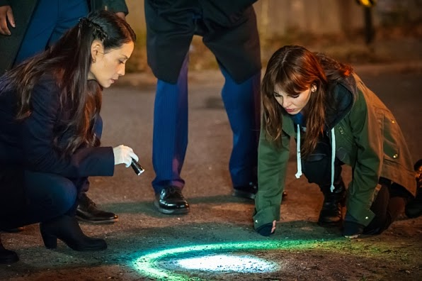 Joan Watson and Kitty Winter working together at the crime scene in CBS Elementary Season 3 Episode 8 End of Watch