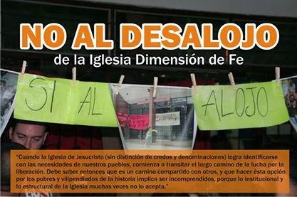 NO AL DESALOJO DE LA IGLESIA DIMENSIÓN DE FE