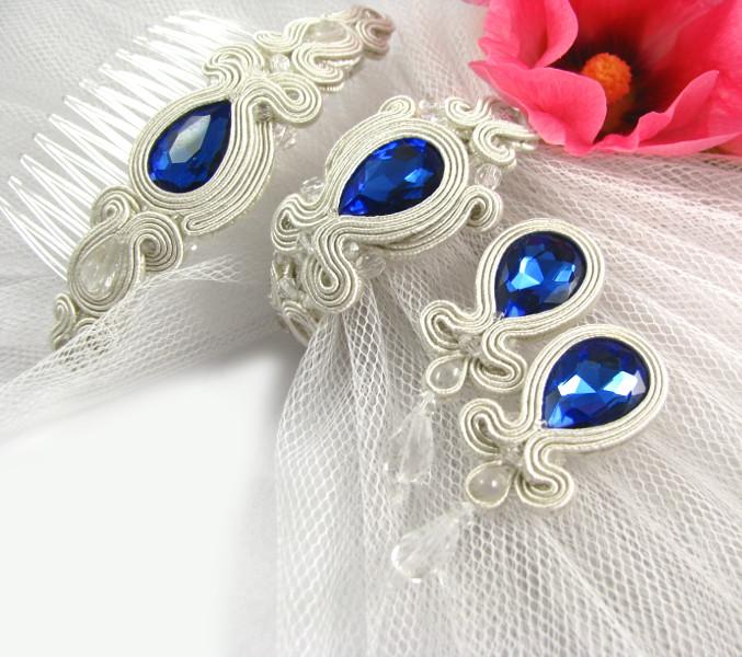 Soutache ślubny niebieski