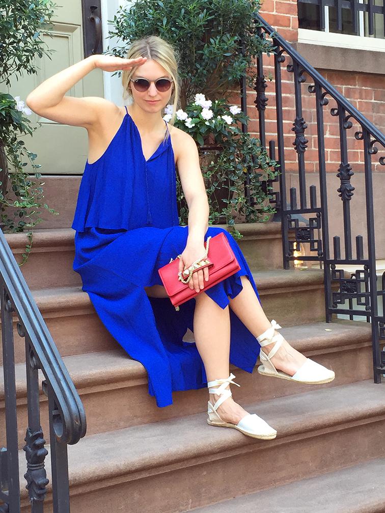 Madewell cobalt blue maxi dress, Soludos espadrilles, Valentino red Rockstud clutch