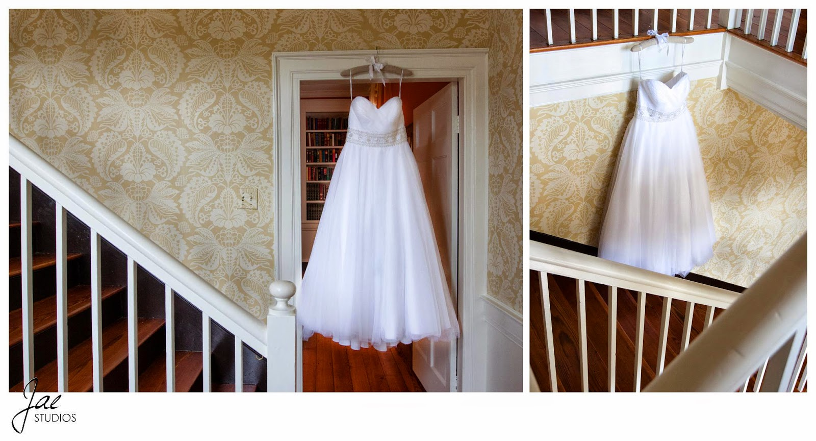 Jonathan and Julie, Bird cage, West Manor Estate, Wedding, Lynchburg, Virginia, Jae Studios, wedding dress, stairs, red, white, patterned, wallpaper, hanging